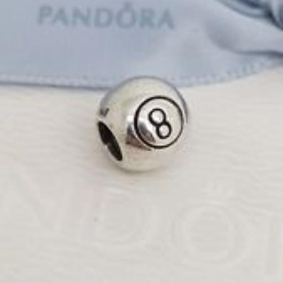 Genuine Pandora Silver LUCKY NUMBER 8 BALL Charm NWT